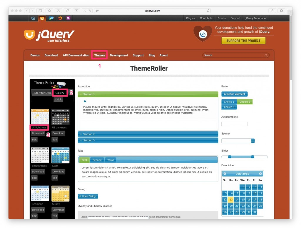 JQuery Datepicker デザイン選択画面